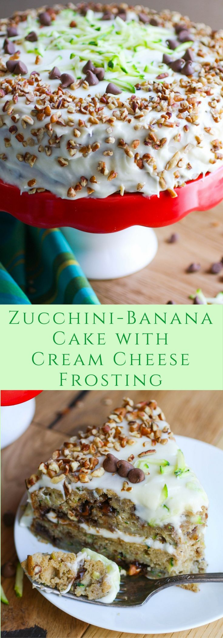 Zucchini-Banana Cake with Cream Cheese Frosting makes a wonderful dessert for any special occasion! This dessert is super moist!