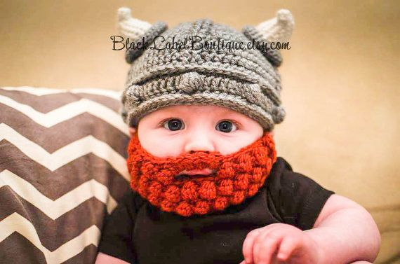 Ready to slay some dragons?! This beanie makes a hilarbious baby gift and a great cool weather hat. It also makes a great photography prop for baby sessions...order a beard to match Daddys. The hat and bobble beard can be customized in almost any color, leave color preference in note to seller, otherwise the hat will be made in gray and white and the beard will be an orangey red. Please also specify in notes the size of beard requested...XS, S, M, L, XL. IF YOU ARE UNSURE OF SIZE NEEDED…