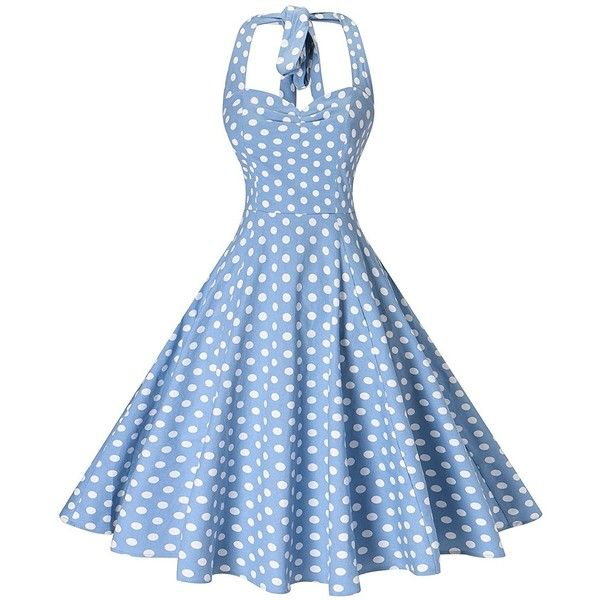V fashion Women's Rockabilly 50s Vintage Polka Dots Halter Cocktail... ($8) ❤ liked on Polyvore featuring dresses, halter top, blue dresses, halter cocktail dress, vintage dresses and evening dresses