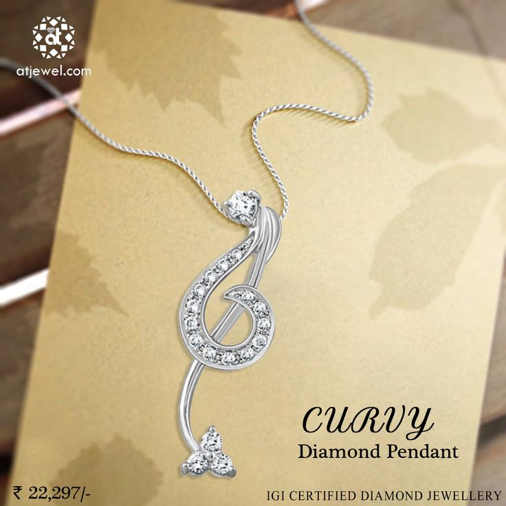 Design Of The Day..... ATJewel Presents a Beautiful Curvy Diamond Pendant For The Beautiful You. #ATJewel #Diamond #Pendant #WhiteGold #Curvy http://bit.ly/2j2YCKN