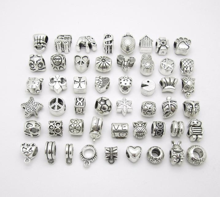 Metal bead big hole Loose pendant fit Pandora charm Bracelets