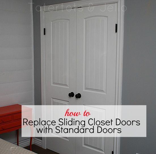how to replace slideing closet doors with standard doors http://tatertotsandjello.com/2012/05/how-to-replace-sliding-closet-doors-with-standard-doors-tutorial.html
