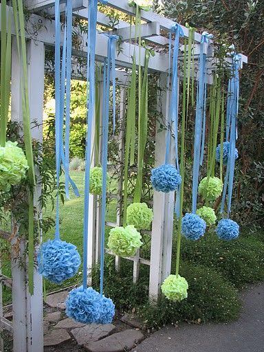 these would be pretty hanging from chandelier in holiday appropriate colors :)  Use a styrofoam ball and push fake flowers into it in all sides. Hang from ceilings or trees for a cute wedding DIY decor idea!