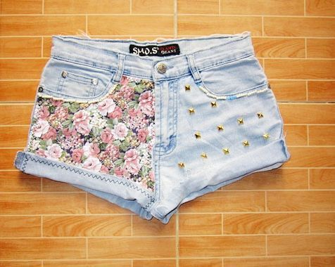 Make To Order - Vintage High Waist Hipster Light Blue Jeans Flowers Pink Gold…