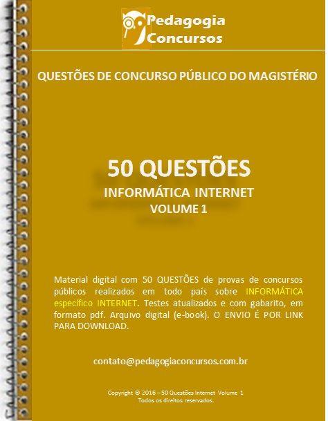 50 Questões de Internet com conteúdo teórico.