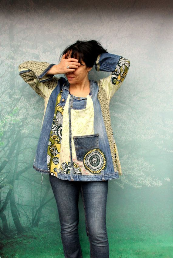 Reserved for Bonnie, do not purchase this item.  Blue and green denim recycled dress tunic top. Made from recycled denim jeans and recycled clothing.