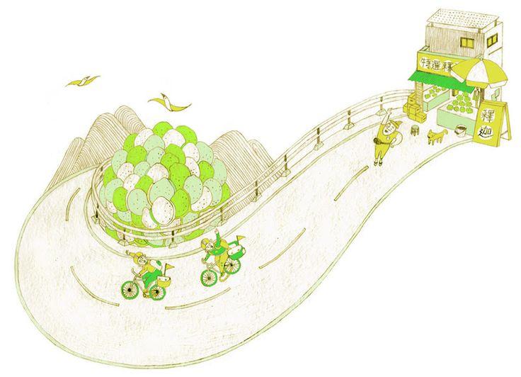 i ying yeh [ illustration ] 單車環台遇到釋迦阿公