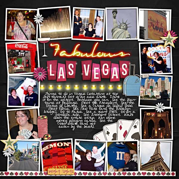 Fabulous Las Vegas - Scrapbook.com Like the layout...uses several photos. Wouldn't have to be trip design in the middle.