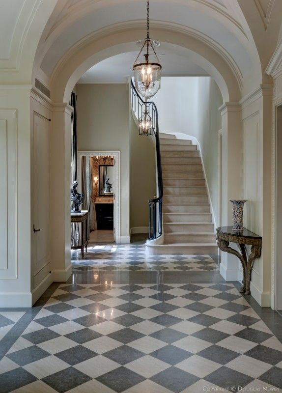 Classic flooring. Fabulous entrance to a house of the right era.The Crespi Estate: Marice Fatio architect designed French Chateau, Dallas TX (built 1930s) - renovated by architect Peter Marino