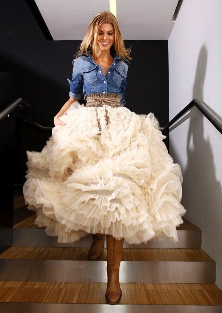 """Hey, here's a kind of """"play on words"""" of a classic Carolyn Herrerra look done with a denim shirt and a light, tule ball skirt. For a young woman with a lot of style, this is stupendous!"""