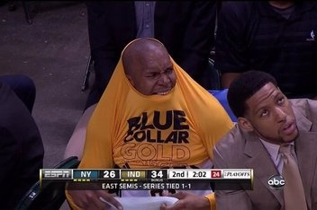 David West and Danny Granger... Would have been a suitable reaction to Lebron's flopping...