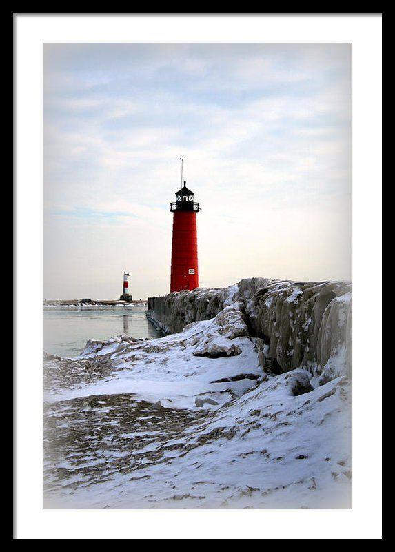 On A Cold Winter #lighthouse #Wisconsin #Kenosha #North #Pier #framed #art #photography #KayNovy #kkphoto1