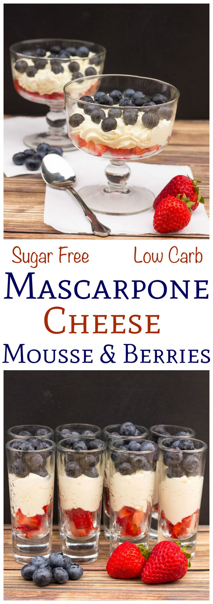 Need a quick low carb dessert? This sugar free mascarpone cheese mousse is made in under a minute using only three ingredients! Perfect served with berries!