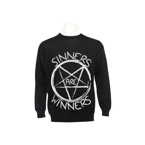 Drop Dead Style Pentagram Hipster Sinners Are Winners Indie Satanic... ($26) ❤ liked on Polyvore featuring men's fashion, men's clothing, men's sweaters, tops, sweaters, jackets, shirts, outerwear, mens jumpers and mens gray sweater