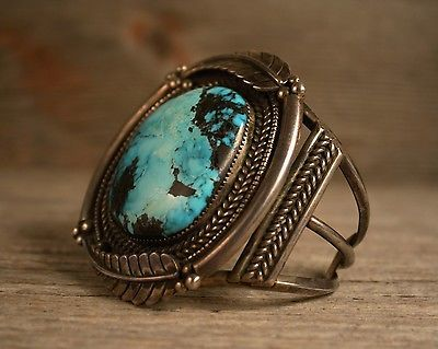 MASSIVE OLD PAWN NAVAJO NATIVE TURQUOISE CUFF BRACELET STERLING SILVER 133gr