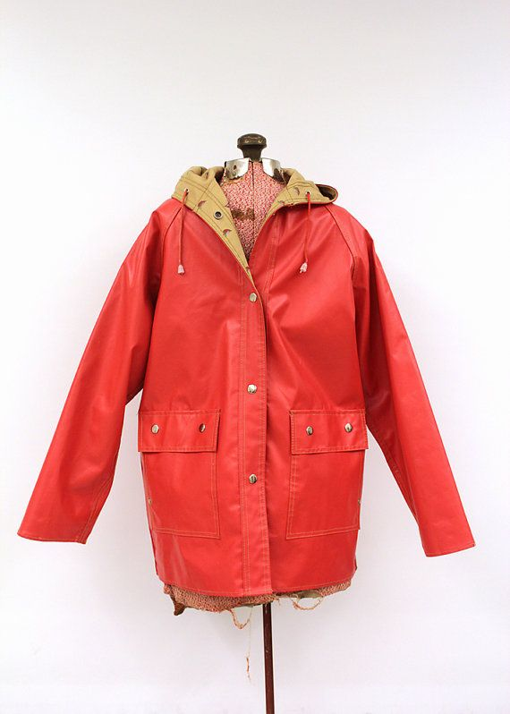 Vintage Bright Red Rain Slicker Waterproof Vinyl Coat