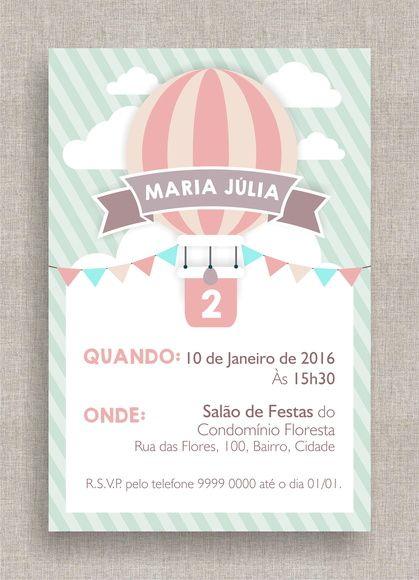 Convite Digital Aniversário 18 Adaptamos para Chá de Bebê ou Fraldas, tema moderno, balão, diferente, simples, elegante, colorido. Baby shower invite, modern, hot air balloon theme, candy colors.