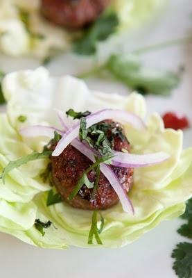 Asian-style Turkey Meatball Wraps