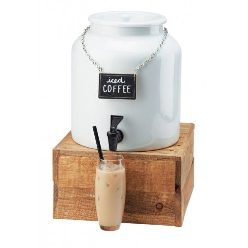 White Porcelain Beverage Dispenser Item: 3460-1BEV (1.5 Gallon Dispenser) 432-6-99 (Base) Serve your drinks in style with this dazzling white porcelain beverage dispenser. This dispenser includes a beverage chalkboard sign which is perfect to label your beverages for your guests!