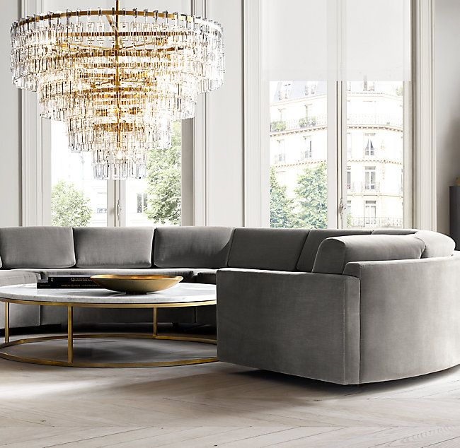 Rh S Marignan Round Chandelier 60 34 Inspired By The Look Of Industrial Machined Metal Chain Des Coffee Table Marble Round Coffee Table Marble Coffee Table #rh #modern #living #room