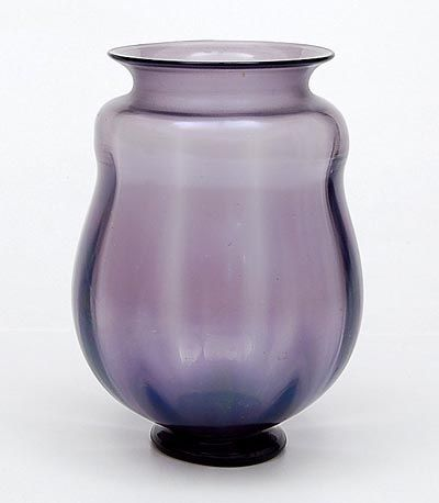 Purple glass optical blown Unica vase L 195 very fine crackle with iridising layer on applied stand design A.D.Copier 1931-'32 executed by Glasfabriek Leerdam / the Netherlands