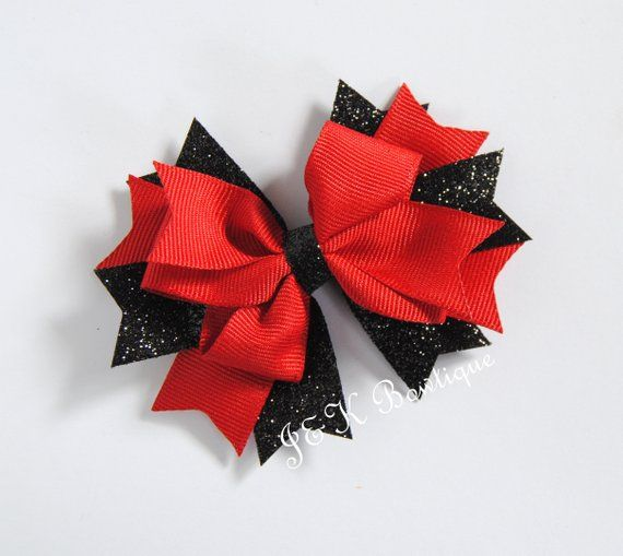 4ccd796ce73c4 Red and black boutique bow