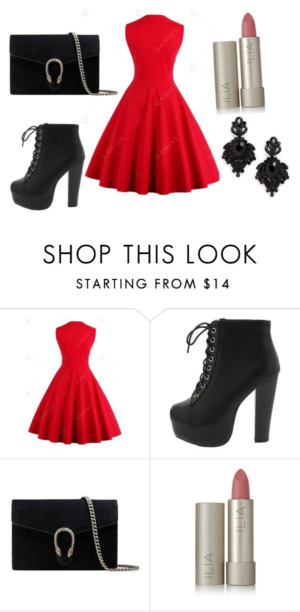 """""""Blood Red"""" by saramichael on Polyvore featuring Gucci, Ilia and Tasha"""
