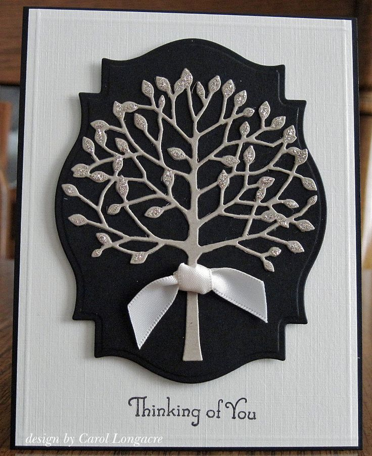 card with Memory Bpx Arboscello tree...luv the elengant look of black white and silver...great choice of Spellbinders Labels 18 die that perfectly frames the tree ...