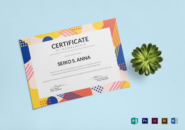 Membership Certificate Template  $12  Formats Included : Illustrator, MS Word, InDesign, Photoshop, Publisher  File Size : 11.69x8.26 Inchs #Certificates #Certificatedesigns #Professionalcertificates