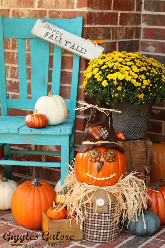 Spruce up your porch decor with an friendly Fall Pumpkin Scarecrow. This easy DIY project is made with craft pumpkins from Michaels from MichaelsMakers Giggles Galore