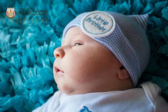 Newborn boy hospital hat, boy coming home outfit, little brother hat, newborn boy hat, boy beenie, boy hospital beanie, infant boy hat