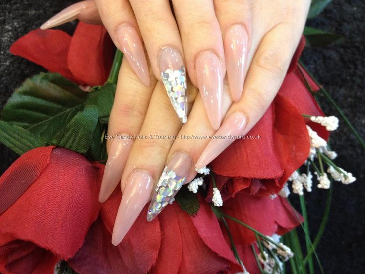 473 best nicola senior my lovely nail art eye candy salon stiletto nails with pink whisper gelpolish and glitter discs on ring finger prinsesfo Image collections