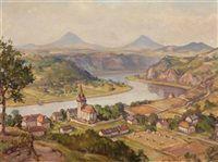 Ansicht von Tschernusck bei Leitmeritz mit Porta Bohemica by Felix Bibus