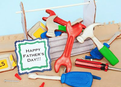 BOX OF TOOLS cookies- This is such a cute idea for any man on their b-day or for father's day.  You could make the tool box out of ginger bread or card board and then fill it with their favorite tool cookies...
