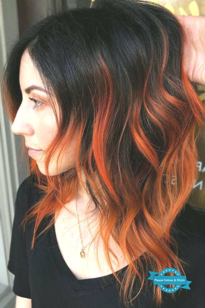 Fiery Orange Highlights Brunette Highlights Redhair Do You Know How Aw Hair Color Streaks Black Hair Balayage Black Hair With Highlights