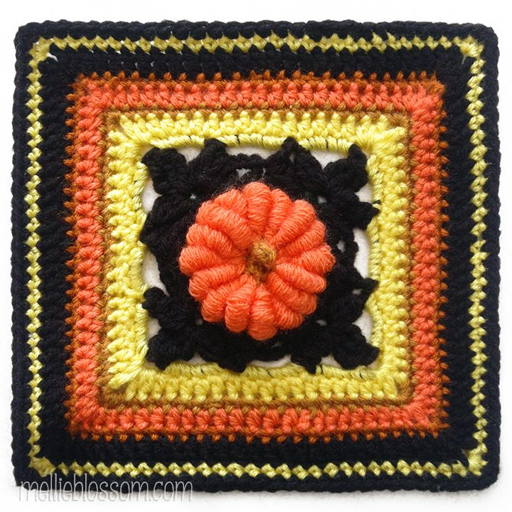 Mellie Blossom: Crochet Color Card – Halloween Colors and Pretty Pumpkin Crochet Square with pattern link.