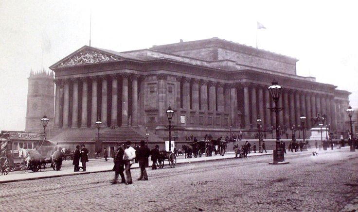 1880 St Georges Hall, Lime Street showing St Johns Church in the background