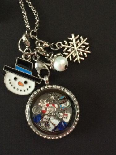 Christmas Floating Oragami Owl STYLE Memory Locket Necklance NOT ORAGAMI Snowman