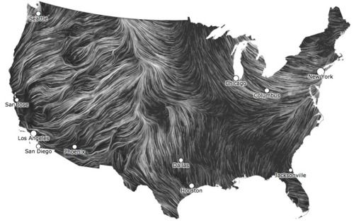 data making art!real time wind map of the United States   Via @anildash