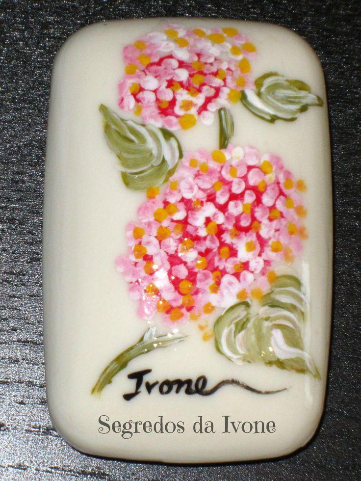 SA55-  Pintura em sabonete - motivo floral