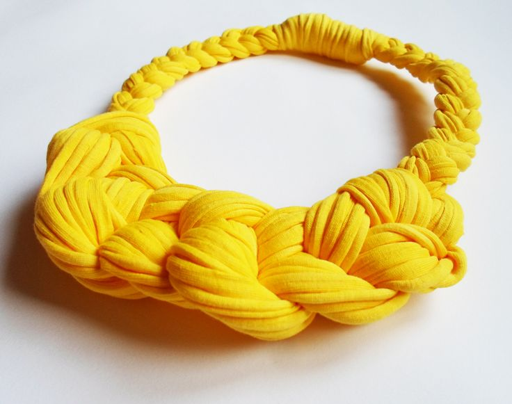 Organic cotton knotted necklace in sunny yellow