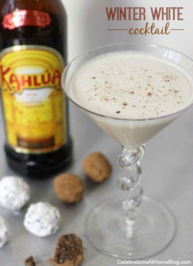 winter white cocktail: Kahlua Drink, Milk Cocktail, Winter White, Kahlua Recipe, Kahlua Cookie, Winter Martini