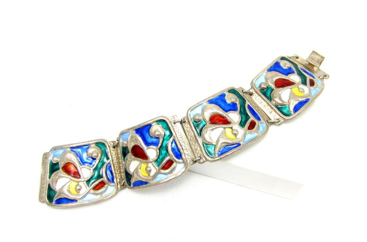 Oystein Balle Bracelet Norway Sterling Silver 925 Modernist Signed Stained Glass Enamel Panel Clasp Vintage Scandinavian RARE Jewelry by TreasureTrovebyTish on Etsy