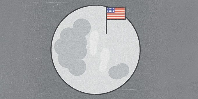 Σημειώσεις | Η Ιστορία του 20ου αιώνα σε σκίτσα Ο Neil Armstrong στο φεγγάρι, 1969