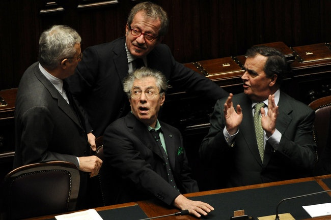 Italian politicians striking poses.