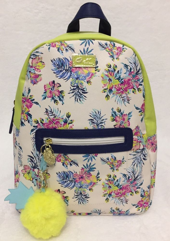 LUV BETSEY JOHNSON  Dem Backpack Purse Tote TROPICAL Floral PINEAPPLE Blue #BetseyJohnson #Backpack