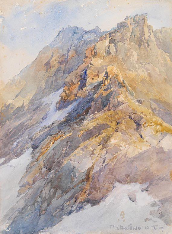 Blick auf den Plattenthurm || Edward Theodore Compton, 1909 Watercolor