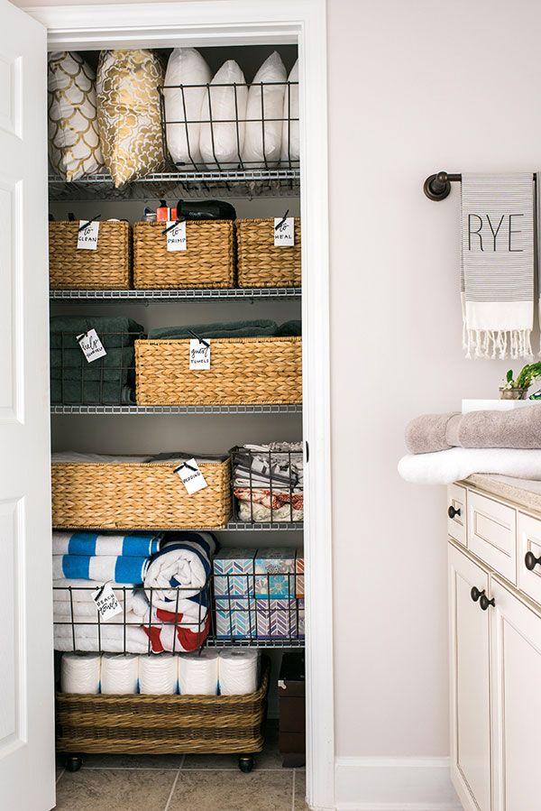 DIY home linen closet organization & decor idea