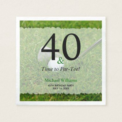 40th Golf Birthday Party Personalized Napkin - kitchen gifts diy ideas decor special unique individual customized