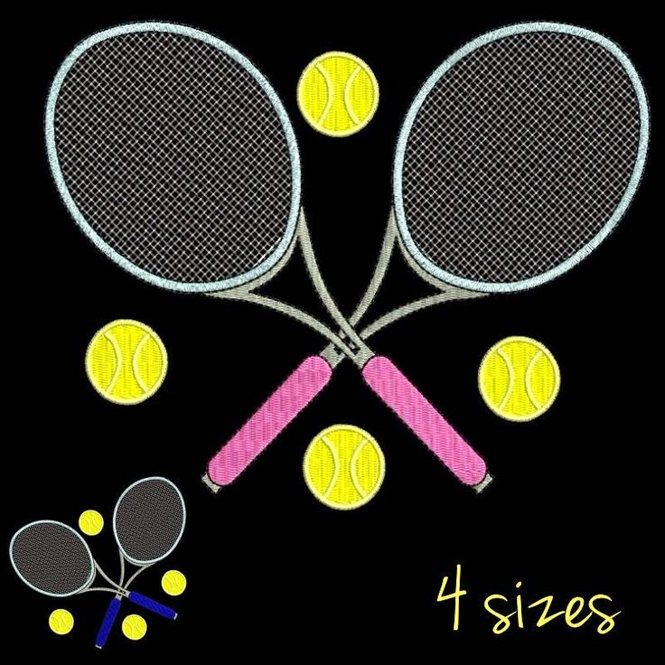 Tennis embroidery machine design Rackets designs sport digital instant download pattern in the hoop pes file t-shirt kids for towel by SvgEmbroideryDesign on Etsy